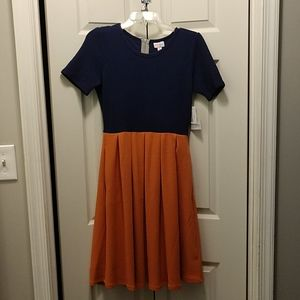 Brand New Gold and Blue Lularoe Amelia Dress